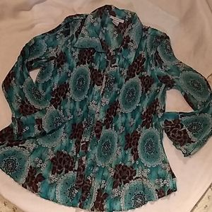 Dress barn, Teal and brown, long sleeves.